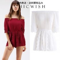 Chicwish☆Midsummer Night Crochet Off-Shoulder Playsuit