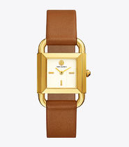 【Tory Burch】PHIPPS WATCH, LUGGAGE LEATHER/GOLD-TONE