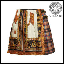 VERSACE★Printed Silk Skirt with Leather Buckles