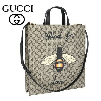 13603ab6a3d GUCCI トートバッグ 18AW ☆Gucci☆ BEE PRINT SOFT GG SUPREME 2wayトート♪ ...