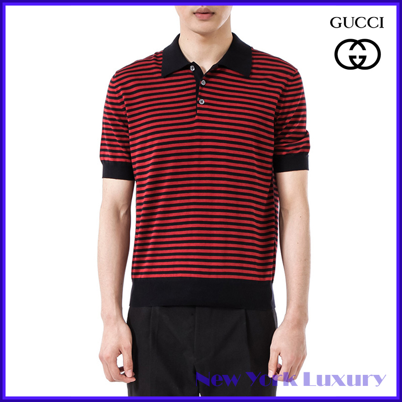 GUCCI★グッチ★素敵!Navy/Red Striped Polo Shirt (GUCCI/ポロシャツ) 411737 4027