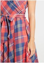 front perch swing fit and flare dress in red plaid