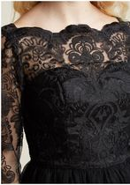 chi chi london gilded grace lace dress in black