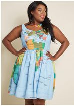 worldly whimsy a-line dress