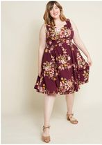 measured magnificence fit and flare dress in burgundy