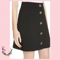 Kate Spade☆DASHING BEAUTY JEWEL BUTTON CREPE SKIRT★セール