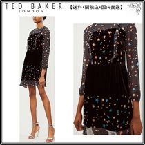 【関税込】TED BAKER ドレス☆Star-patterned frilly devore and