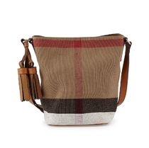【 Burberry 】 The Small Ashby in Canvas Check + Leather 茶