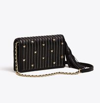 Tory Burch FLEMING STAR-STUD FLAT WALLET CROSS-BODY