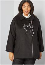 playful nature embroidered cat coat