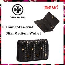 新作セール Tory Burch Fleming Star-Stud Slim Medium Wallet