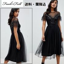 frock & frill(フロックアンドフリル) ワンピース Frock And Frillメッシュembellished ミデイドレス in black