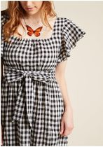 flutter sleeve cotton a-line dress with pockets in gingham