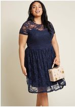 classic contributor lace dress in navy