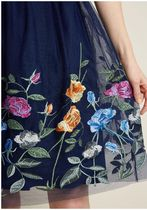 beautifully abloom fit and flare dress in navy