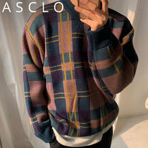 ★ASCLO★ Vintage Jacquard Checked Knit