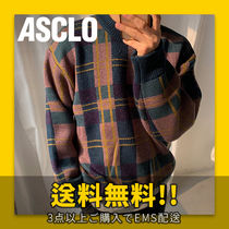 ASCLO(エジュクロ) ニット・セーター ★ASCLO★ Vintage Jacquard Checked Knit