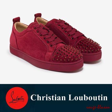 0ed03457ff4 Christian Louboutin スニーカー Louis Junior Spikes Flat Sanguine Red Suede  Trainers ...