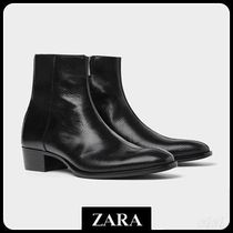 ☆ Men's ZARA☆ EMBOSSED LEATHER BOOTS