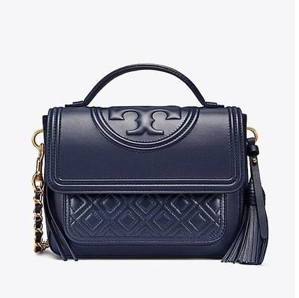 Tory Burch ショルダーバッグ・ポシェット 【 Tory Burch 】 FLEMING SATCHEL ROYAL NAVY