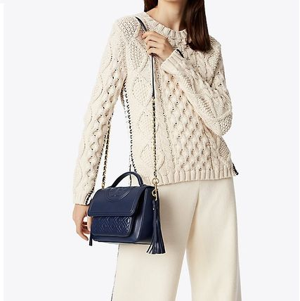Tory Burch ショルダーバッグ・ポシェット 【 Tory Burch 】 FLEMING SATCHEL ROYAL NAVY(4)