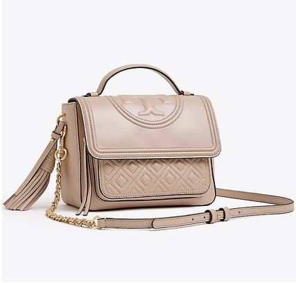 8fdcf00681d2 ... Tory Burch ショルダーバッグ・ポシェット   Tory Burch   FLEMING SATCHEL LIGHT TAUPE(2  ...
