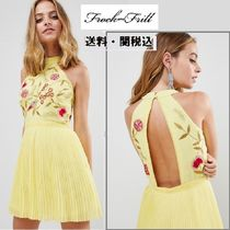 frock & frill(フロックアンドフリル) ワンピース Frock And Frill Petite 刺繍トップ Pleated ミニドレス