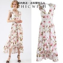 ☆Chicwish☆Peach Blossom Asymmetric V-Neck Frilling Dress