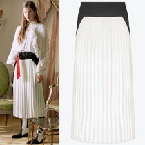 18-19AW G360 LOOK43 BI-COLOR MIDI SKIRT WITH PLEATED PANEL