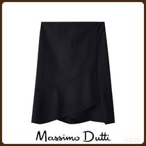 MassimoDutti♪WOOL PENCIL SKIRT WITH RUFFLE