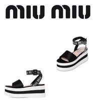 MIU MIU  80MM NYLON&SATIN WEDGE SANDALS