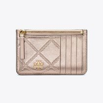 Tory Burch GEORGIA METALLIC TOP-ZIP CARD CASE