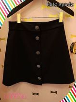 kate spade☆jewel button crepe skirtキラキラボタン付スカート