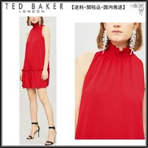 【関税込】TED BAKER ドレス☆Ruffle-trimmed high-neck crepe d