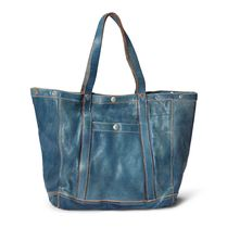 Indigo-Dyed Leather Tote