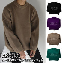 ASCLO★韓国の人気★OVERFIT AWESOME CROP LINE KNIT 5色