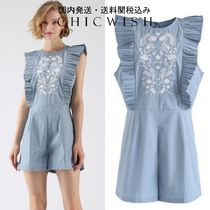 国発Chicwish☆Dance to This Embroidered Sleeveless Playsuit