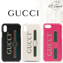 【VIP SALE!!】GUCCI☆ロゴ付き レザーiPhone case / 7/8/X