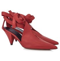 CELINE 18AW V Neck Salome Ankle Tie パンプス_Pop Red