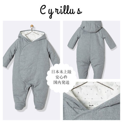 Baby's flannel jumpsuit - grey marl