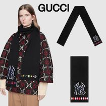 新作グッチ☆ GUCCI Wool scarf with NY Yankees patch マフラー