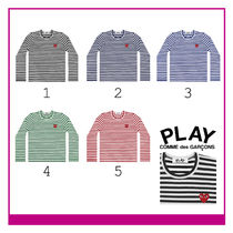 Ladys PLAY COMME des GARCONS ボーダーレッドプレイ長袖Tシャツ