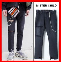 ★人気★【MISTER CHILD】★BALL CHAIN CROP JEAN★ブラック★