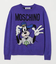 H&M MOSCHINO MERINO WOOL SWEATER PURPLE GOOFY セーター