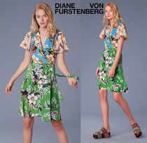 セール!DVF Flutter Sleeve Front Tie Wrap Dress お早めに