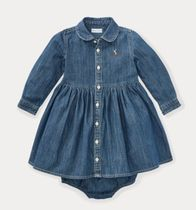新作♪ 国内発送 Shirred Denim Shirtdress girls 9~24M