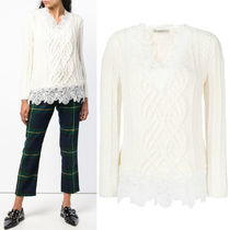 ERMANNO SCERVINO(エルマノシェルビーノ ) ニット・セーター 18-19AW ES022 CROCHET LACE TRIMMED ALAN SWEATER