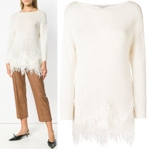 ERMANNO SCERVINO(エルマノシェルビーノ ) ニット・セーター 18-19AW ES023 LACE TRIMMED CASHMERE SWEATER