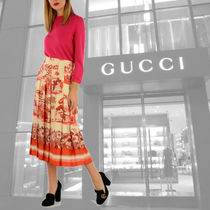 GUCCI★PRIVATE SALE!フローラル シルク プリーツスカート