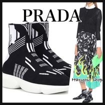 VIP価格★PRADA★ knitted sneakers with logoスニーカー